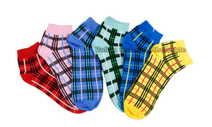 Ladies Casual Ankle Socks with Checkered Prints - Dallas General Wholesale