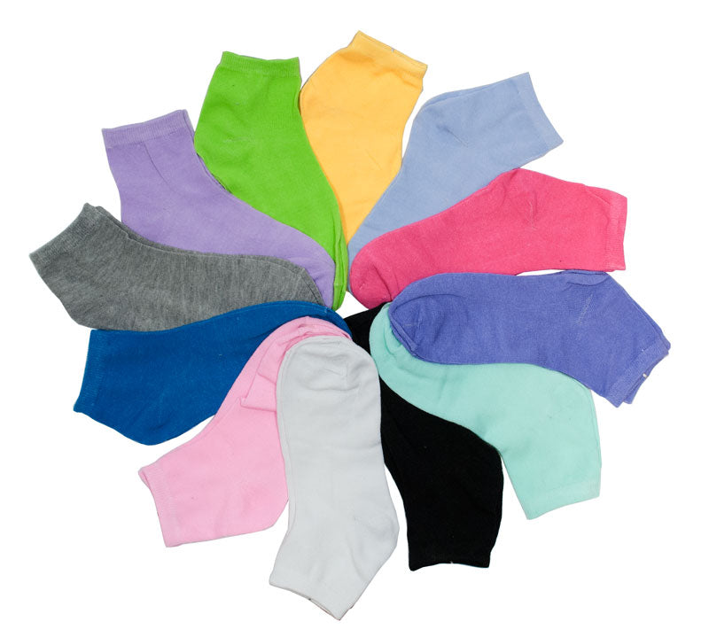 Girls Solid Color Casual Ankle Socks - Dallas General Wholesale