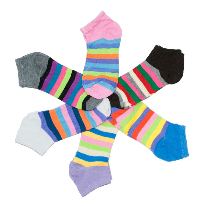 Women's Colorful Stripes Casual Ankle Socks - Dallas General Wholesale