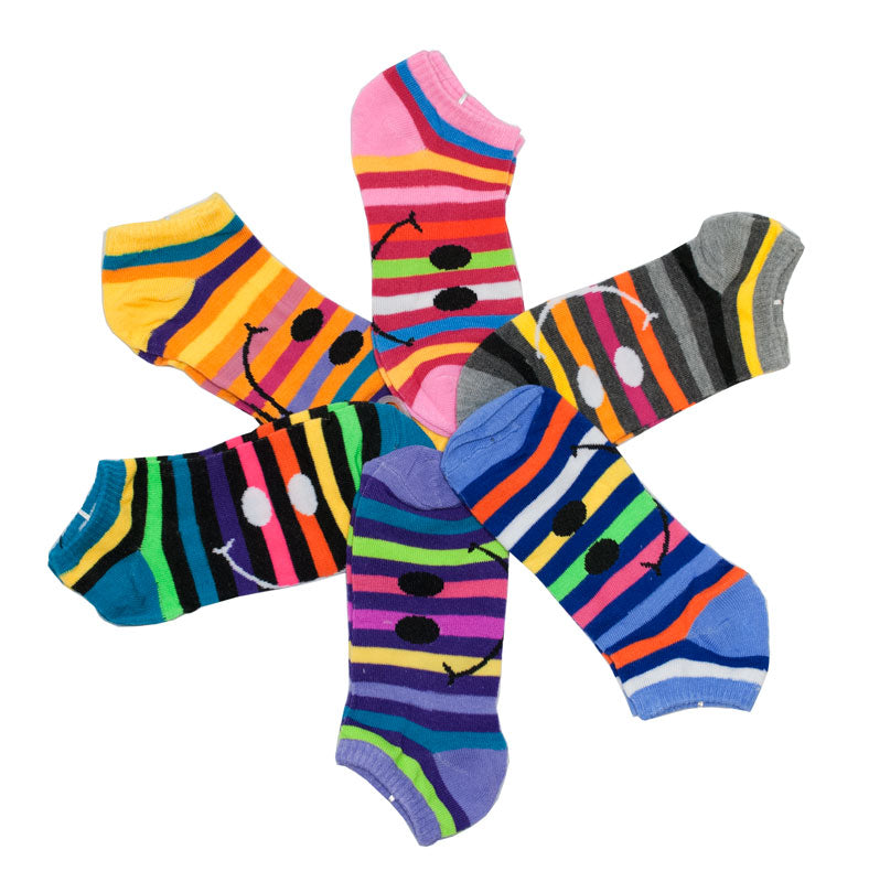 Girls Low Cut Casual Socks-Smiley Faces - Dallas General Wholesale