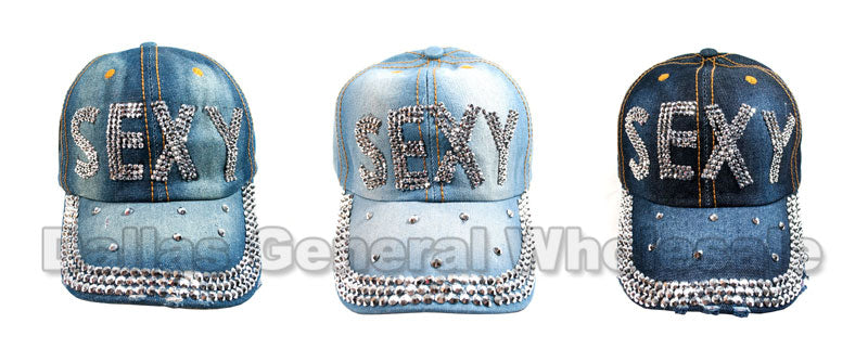 """Sexy"" Studded Fashion Jean Casual Caps - Dallas General Wholesale"