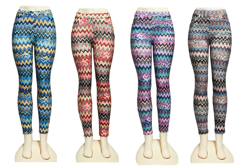 Ladies Printed Pull On Skinny Pants - Dallas General Wholesale