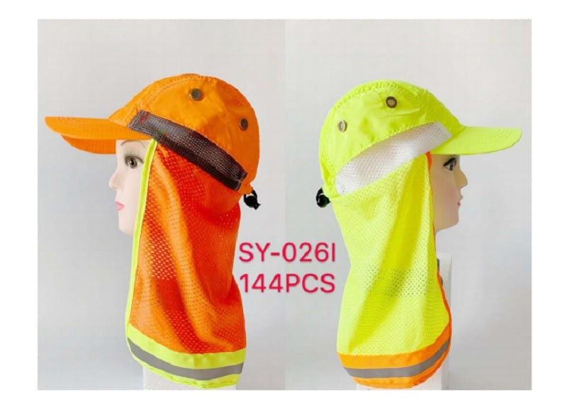 Neon Safety Caps w/ Neck Cloak Wholesale - Dallas General Wholesale