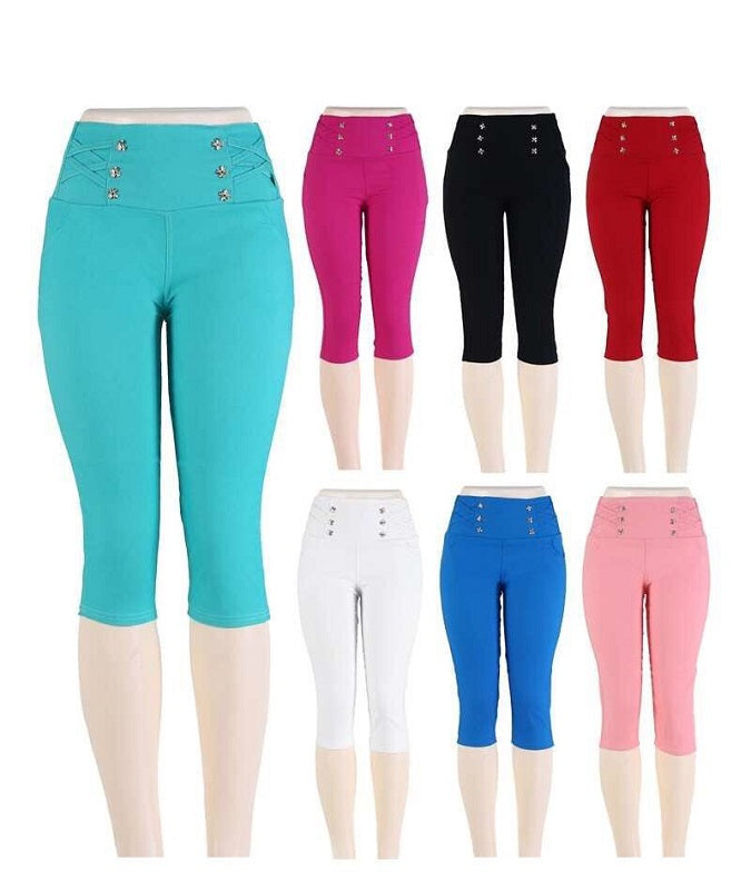 Ladies Fashion Pull On Capris Pants - Dallas General Wholesale