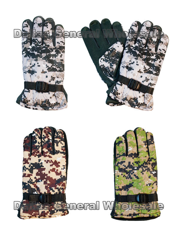 Men Digital Camouflage Heavy Insulated Gloves Wholesale - Dallas General Wholesale