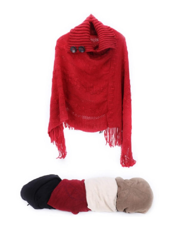 Knitted Winter Poncho Sweaters Wholesale - Dallas General Wholesale