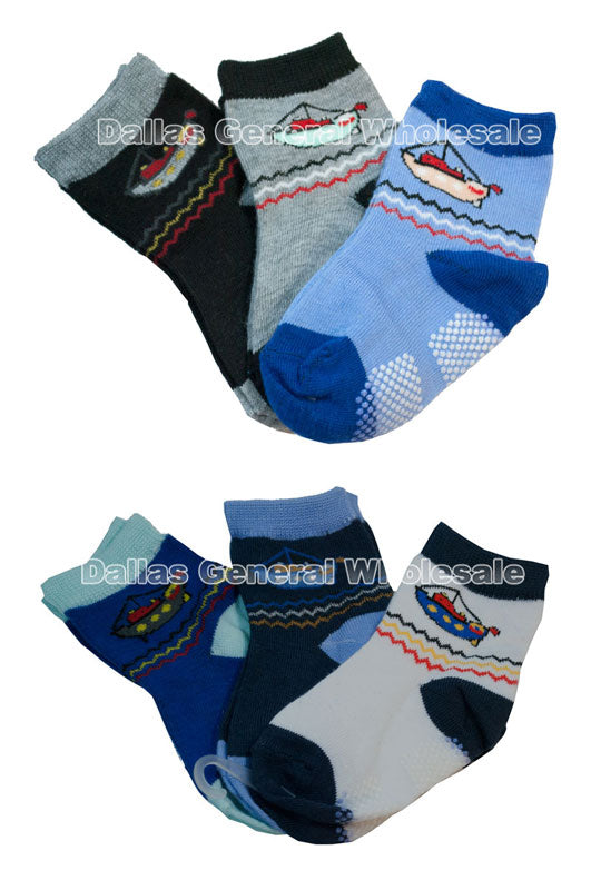 Toddler Boys Boat Design Ankle Socks Wholesale - Dallas General Wholesale