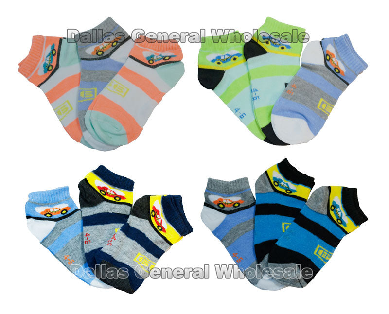 Boys Striped Car Pattern Socks - Dallas General Wholesale