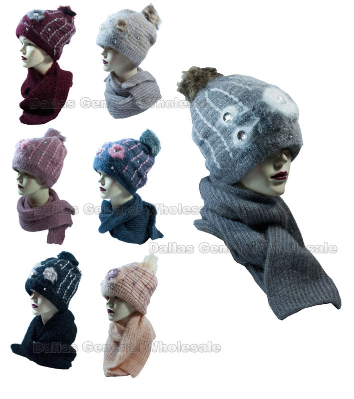 Ladies Thermal Fleece Beanie Hat with Scarf Set Wholesale - Dallas General Wholesale