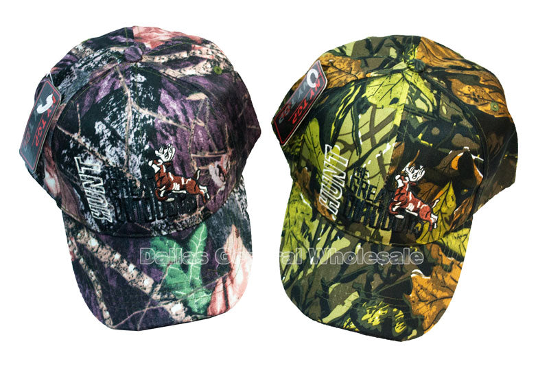 """Hunt the Great Outdoors"" Deer Camouflage Casual Caps - Dallas General Wholesale"