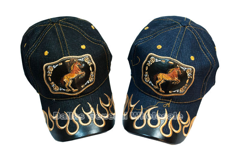 """Rearing Horse"" Casual Denim Caps Wholesale - Dallas General Wholesale"