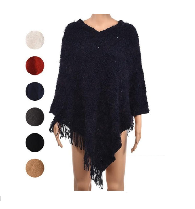 Ladies Thin Woven Ponchos with Tassel Fringes Wholesale - Dallas General Wholesale