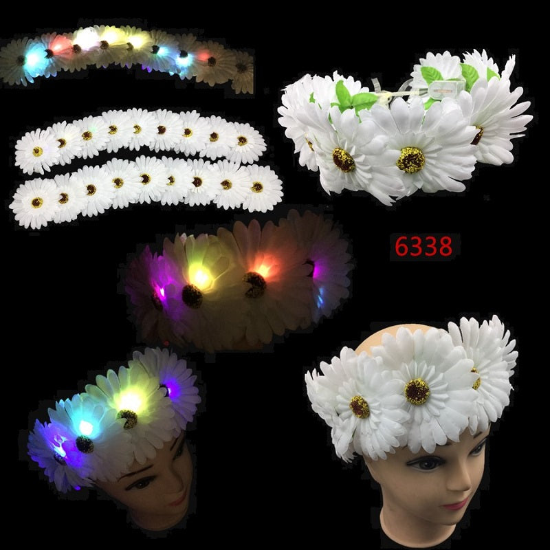 Daisy Flower Headbands w/ Lights Wholesale - Dallas General Wholesale