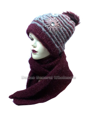 Women's Studded Flower Knitted Beanie Hat with Scarf Set Wholesale - Dallas General Wholesale