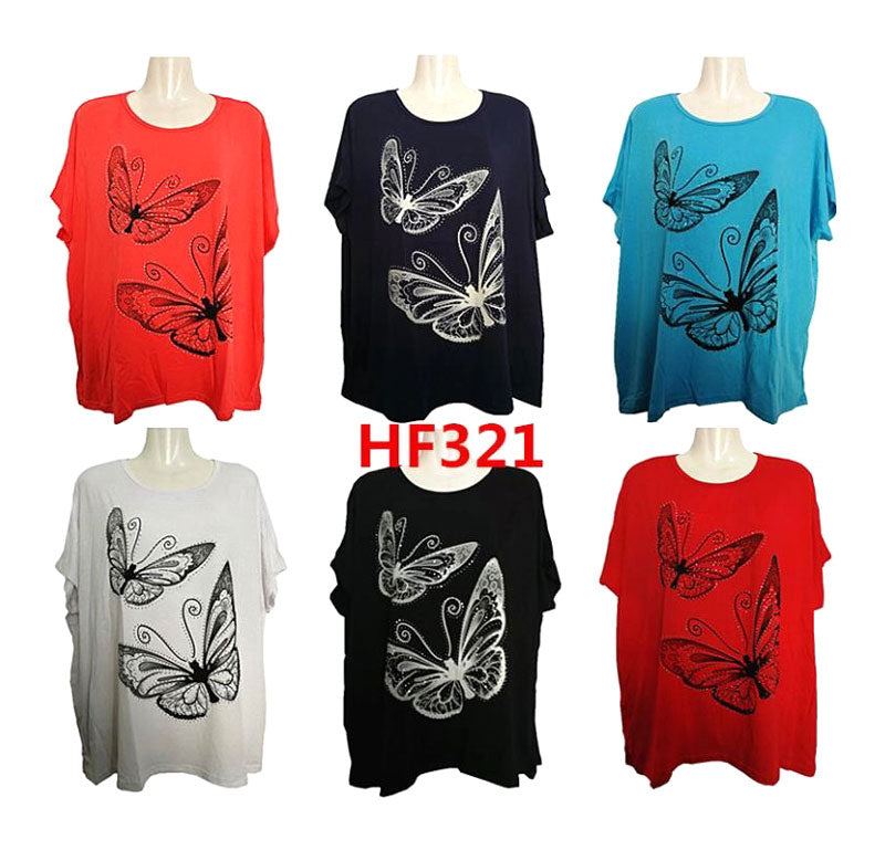 Ladies Studded Butterfly Casual Blouses Wholesale - Dallas General Wholesale
