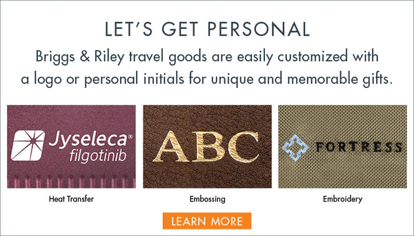 Personalization & Decoration Let's get personal. For unique and memorable gifts, select from our array of easily personalized and decorated travel goods.