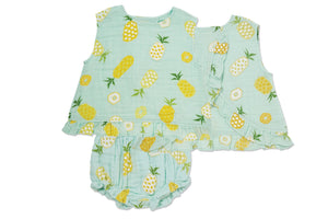 Pineapple Muslin Ruffle Back Top and Bloomer - Little Owly
