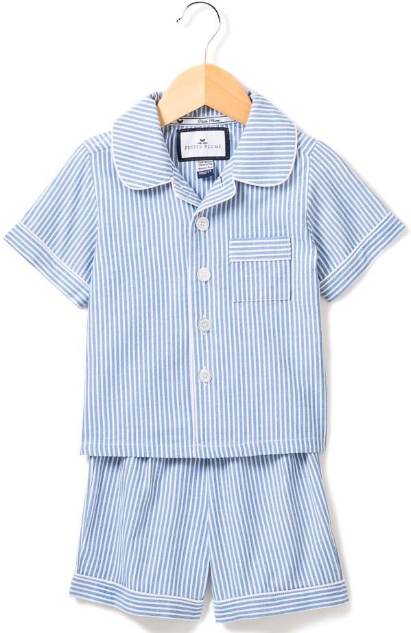 Blue Seersucker Pajama Short Set - Little Owly