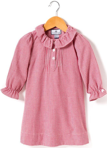 Red Mini Gingham Victoria Nightgown - Little Owly