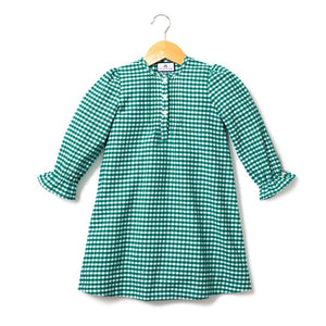 Green Gingham Flannel Beatrice Nightgown - Little Owly