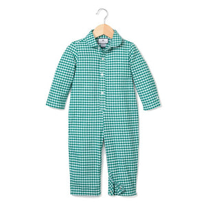 Green Gingham Romper with White Piping - Little Owly
