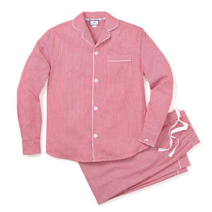 Adult Red Mini Gingham Twill Pajama Set - Little Owly