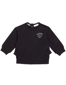 Black Bagel Shop Ruffled Crew Neck Sweater