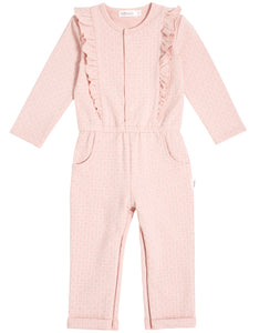 "Light Pink ""Alveolous"" Ruffled Playsuit"