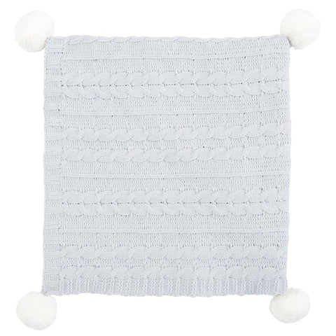 Gray Chenille Pom Pom Blanket - Little Owly