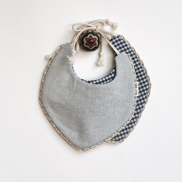 Reversible Jasper Bib - Blue/Gingham and Linen Chambray - Little Owly