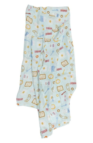 Breakfast Blue Muslin Swaddle