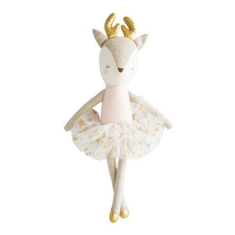 Pink and Gold Star Linen Reindeer - Little Owly
