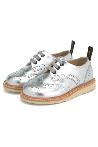 Brando Leather Silver Child Brogue Shoe - Little Owly
