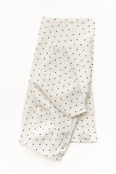 Black and White Polka Dot Swaddle - Little Owly