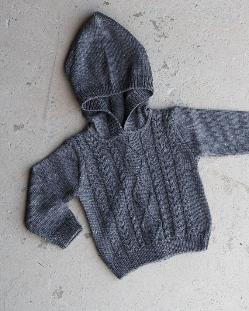 Zip Back Aran Cable Knit Hoodie - Little Owly
