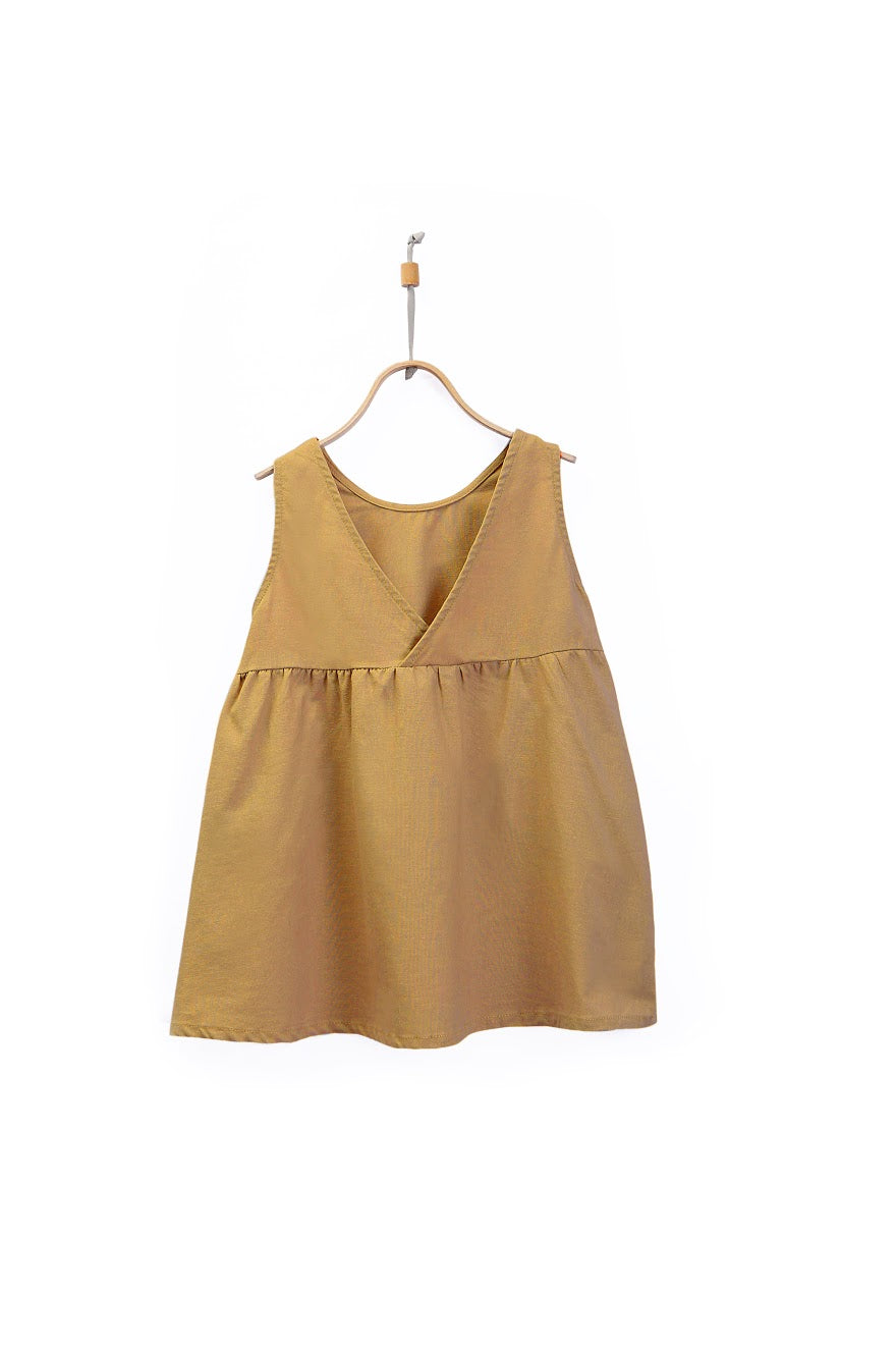 Mustard Linen Cotton Blend Dress - Little Owly