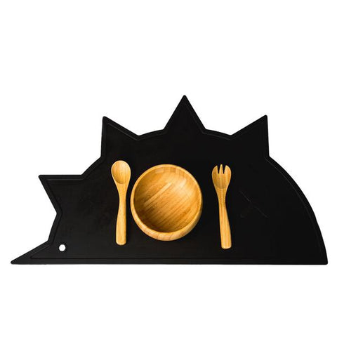 Black Hedgehog-Dino Non-Toxic Placemat - Little Owly