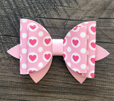 Pink Heart Faux Leather Bow Set