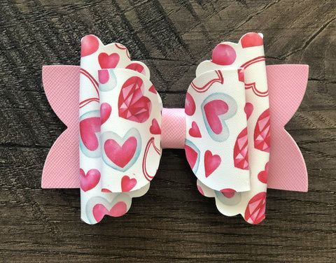 Jeweled Hearts Scalloped Faux Leather Bow Set