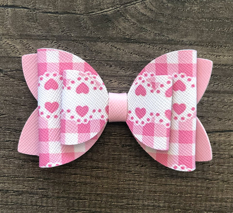 Pink Gingham with Hearts Faux Leather Bow Set