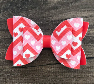 Red, Pink and White Heart Faux Leather Bow Set
