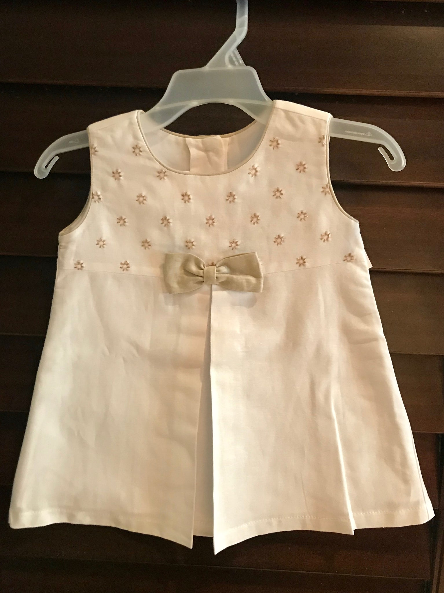 White and Camel Dress - Little Owly