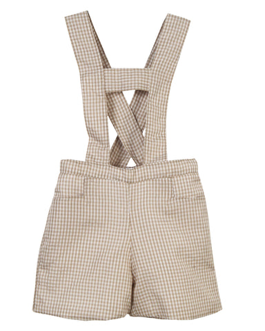 Baby Boy Short Overall with Suspender - Little Owly