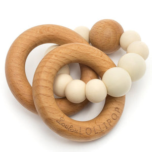 Beige Bubble Silicone and Wood Teether