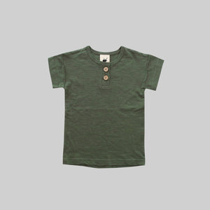 Moss Green Henley T-Shirt - Little Owly
