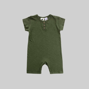 Moss Green Shorty Playsuit - Little Owly