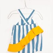 Assymetrical Ruffled Romper with Blue & Yellow Stripes - Little Owly
