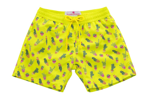 Mason Cactus Print Boy Swim Shorts - Little Owly