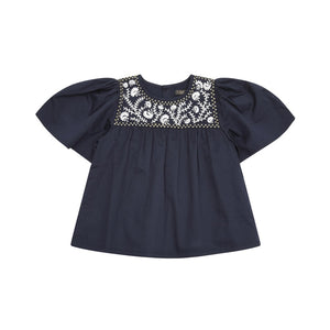 Asha Navy Blue Embroidered Top - Little Owly