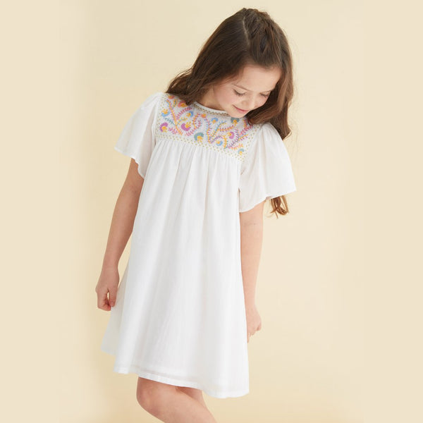 Priya White Cotton Embroidered Dress - Little Owly